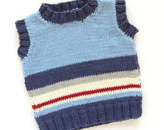 Hand knitted - baby tank top in dark blue, cream, stone and red