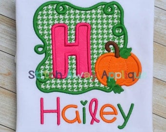 Pumpkin Swirly Vine Alpha Fall Machine Applique Design