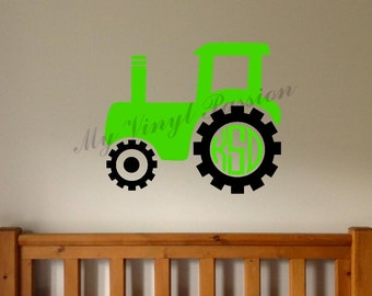 Personalized Monogrammed Tractor Decal, Tractor Vinyl Wall Decal,  Personalized Tractor Nursery Bedroom Wall Monogram Part 92