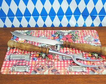 Vintage * 1970s * WMF * rustic German Carving Set * stainless Steel * Wood * bavarian Style * Oktoberfest Buffet * Kitchen