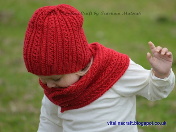 Knitting Pattern Child Hat And Scarf : Knitting Pattern Tiny Cables Hat and Scarf Baby Child