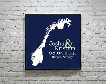 Norway Wedding Gift Custom Map Personalized Couple Art Personalized Norway Map Art Personalized