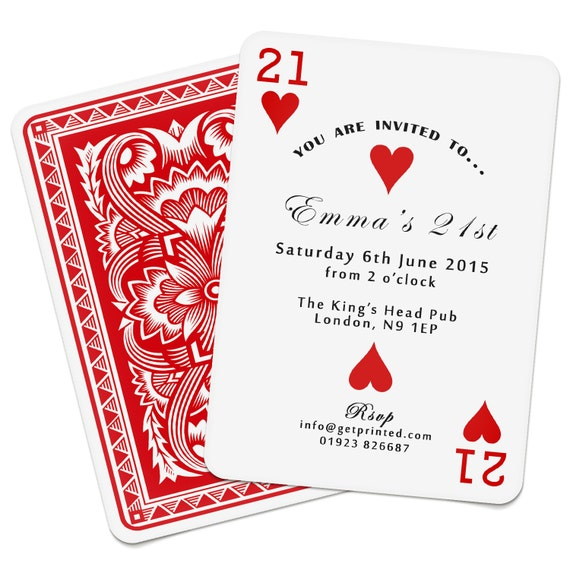 Personalised Playing Card Invitations Invites Birthday Wedding