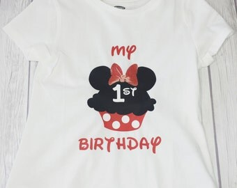 Minnie Mouse Birthday Personalized Shirt, Minnie Cupcake Shirt, Personalized Shirt, Disney Shirt, Birthday Shirt