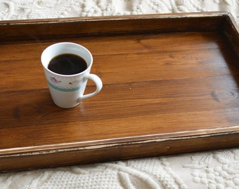 Light Handmade Dark Oak Wood Serving Ottoman Tray