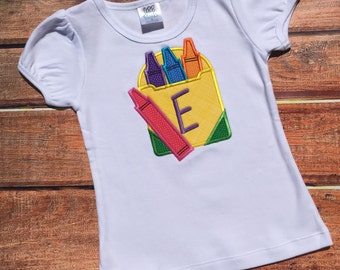 Applique Back to School Crayon Shirt Personalized