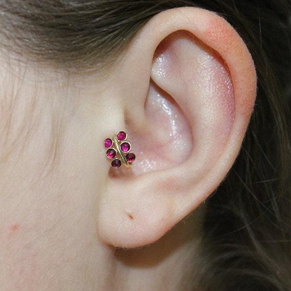 2mm Red Ruby Tragus Earring - Gold Nose Hoop - Nose Ring - Cartilage Earring - Tragus Ring 20g - Daith Ring - Helix Hoop - Nose Piercing