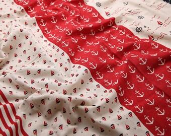 140cm / 55 inch Width, Red Beige Anchor Stripe Pattern Linen Cotton Fabric, Half Yard