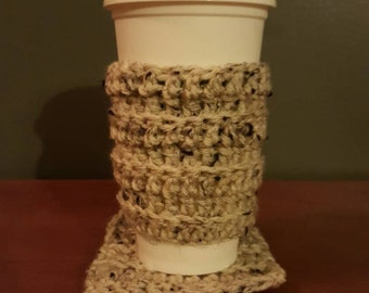 Beige coffee cozy with matching coaster