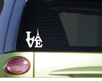 "Love Eiffel Tower *I072* 8"" Sticker Decal France Paris Europe"