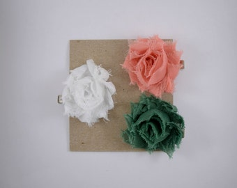 Hair Clips - Set of Three - White, Coral and Green Small Hair Clips - Toddler Hair Clips - Adult Hair Clips - Baby Hair Clips Petite Flowers