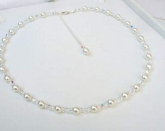 SWAROVSKI bridal necklace Sterling Silver AB crystal and pearl necklace with backdrop white or cream pearl wedding jewelry bride jewellery