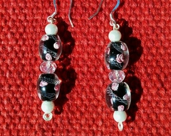 midnight roses: dangle earrings with hand wrapped murano style glass, crystal & glass pearls
