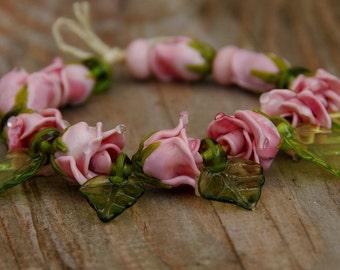 Pinky roses lampwork bead set / Handmade / glass lampwork beads / Flower / Beading /