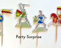 Cupcake Toppers Medieval Knights Knights in Armour Boy Party Decorations Knights and Dragons Party Cupcake Cake Knights Decorations