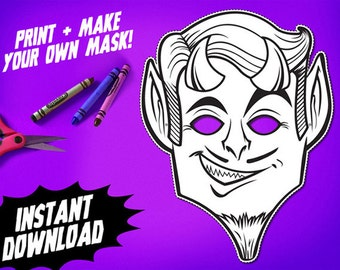 PRINTABLE Devil Coloring Mask, kids paper halloween mask, DIY halloween costume, great for Halloween parties, instant download PDF