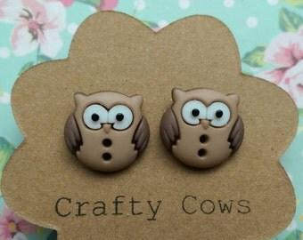 Owl earrings - little brown owl button earrings owl stud earrings UK 4