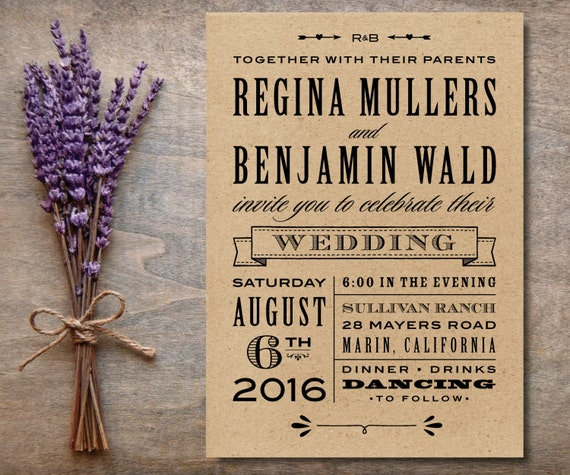 Wedding Invitation Wording Together With Their Parents: Kraft Wedding Invitation Rustic Printable By