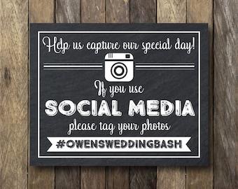 Wedding Hashtag Sign - If You Use Social Media Printable - Printable Social Media Sign - Hashtag Chalkboard - Wedding Hashtag Printable