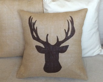 Deer Burlap Pillow - Rustic,Gifts For Him,Man Cave,Fathers Day,Antler Pillow - Cabin decor -Ships Within 3 DAYS!