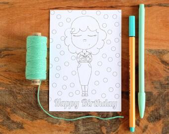 Original coloring card - Birthday card