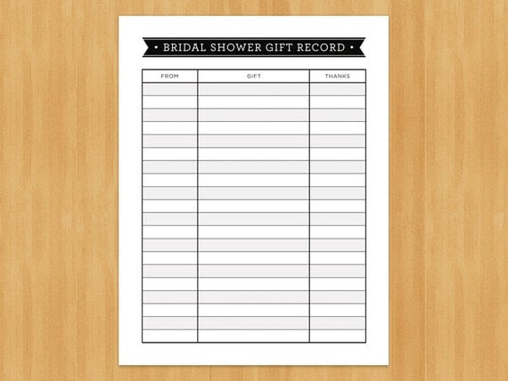 Wedding Gift List Online: Printable Bridal Shower Gift Record List List Of Gifts