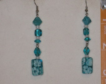 Turquoise Flower Bead Earrings