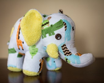 """Memory Elephant, 9"""" Tall, Made From Your Treasured Clothing"""