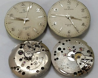 Vintage, Wristwatch, Movements, Lot of 4, Helbros, Steampunk, Altered Art, Jewelry, Beading, Supplies, some good parts fro repair