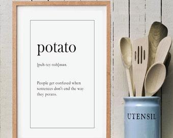 POTATO Funny Wall Art | Christmas Gift Idea | Definition Print | Home Decor | Printable Art | Instant Download PDF