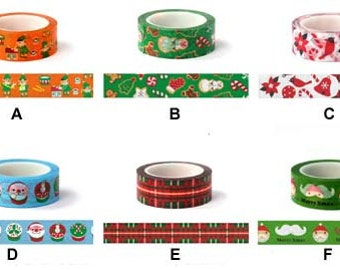 On Sale ~ Christmas Washi Tape --  Washi Tape -Deco tape-- 15mm x 8M--6 rolls