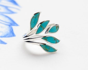 Adjustable Turquoise Silver Leaf Ring, Sterling Silver Ring, Handmade Silver Ring, Statement Ring, Turquoise Ring, Boho Ring, JR100