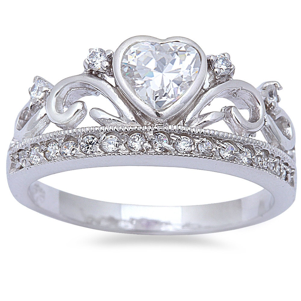 King Queen Heart Crown Ring Solid 925 Sterling Silver 0 74ct White Russian Cz Ebay