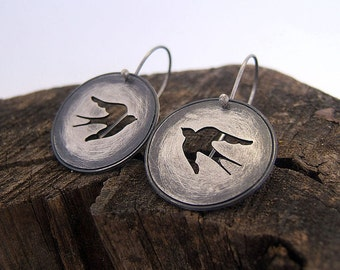Sterling Silver Swallow Earrings