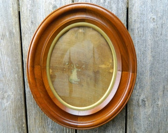antique 19th century wood oval frame