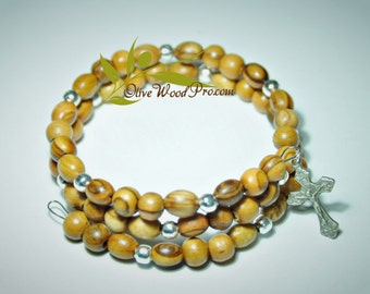 Olive wood bracelet silver beads and cross holy land