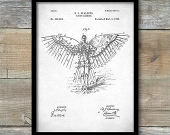 Patent Print, Flying Machine Poster, Jasper Spalding Flying Machine, Patent Poster, Office Décor, Patent Art, Home Décor, P100