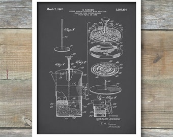 Coffee Pot Patent, French Press Coffee Pot Poster, Coffee Pot Print, Coffee Pot Art, Coffee Pot Decor, Coffee Pot Blueprint, P174