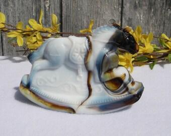 Vintage Glass Horse Figurine 1981 Mosser Guernsey Slag Glass Rocky Rocking Horse Figurine Harold Bennett