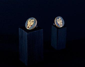 Earrings | Face | Grey  | Circle | Huon Pine