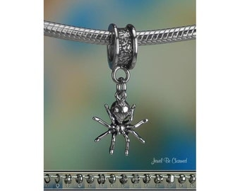 Tiny Spider Charm or European Style Charm Bracelet Sterling Silver 925