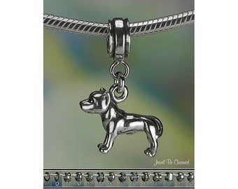 Pitbull Charm or European Charm Bracelet .925 Sterling Silver Pit Bull