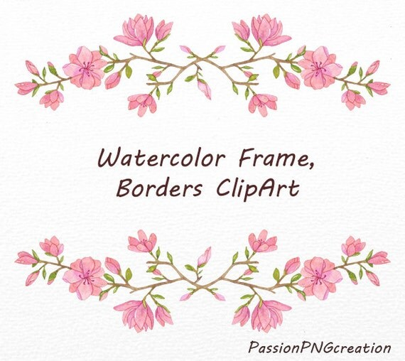 Watercolor Frame and borders clipart, PNG, Watercolor clip art, Wreath ...