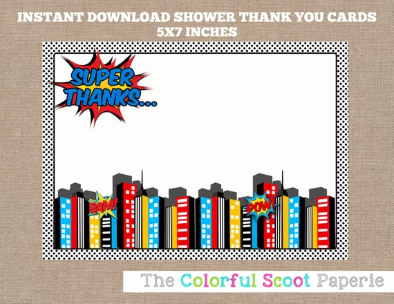 Custom Card Template envelope template for 5×7 card : Superhero Baby Shower Thank You Card, Superheroes Thank You Cards ...