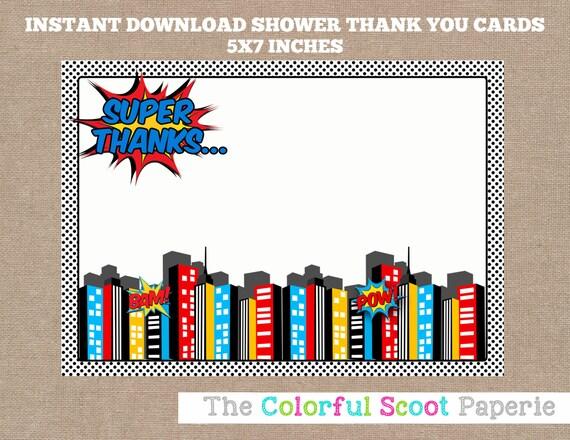 Superhero Baby Shower Thank You Card Superheroes Thank You