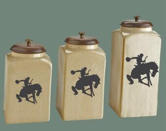 Bucking HorseChalkboard Canister Labels - Set  of 3