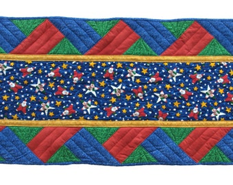 Large Red, Green and Blue Star Santa Table Runner