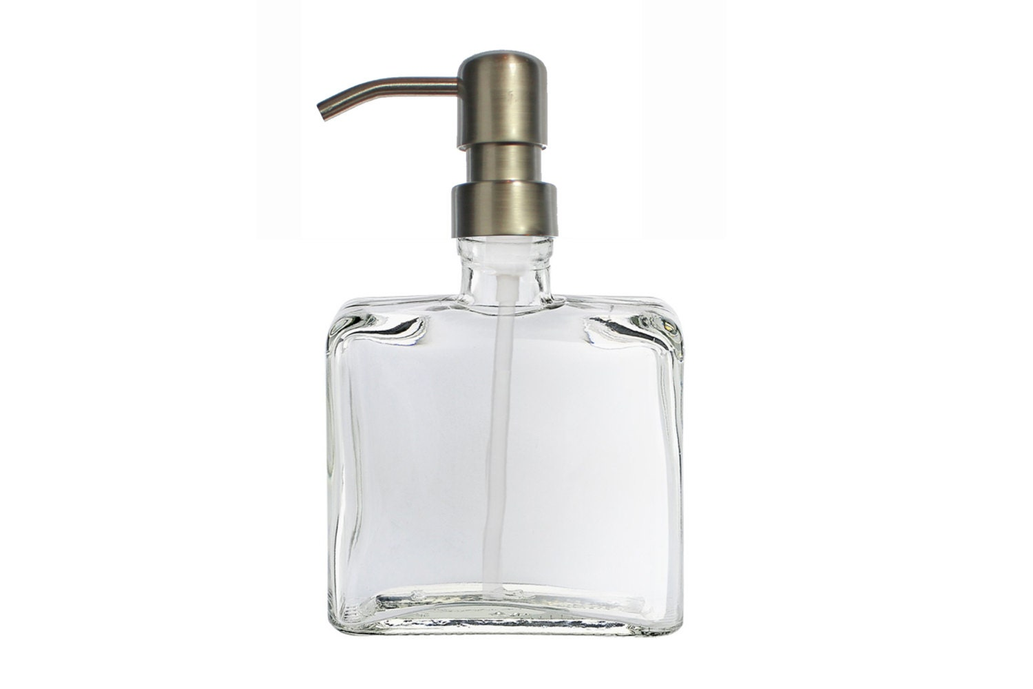 Brushed Nickel Soap Dispenser Pump : Glass Soap Dispenser with Metal Pump square by SouthernHomeSupply