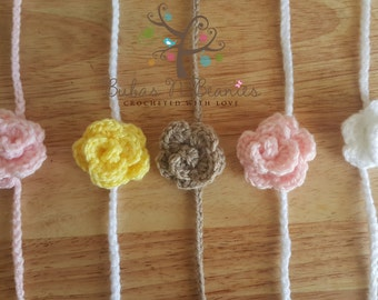 5x Crochet mini rose tie back headband