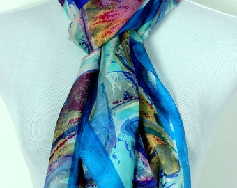 Banarsi Designs Artistic Print Silk Scarf (Sky Blue)